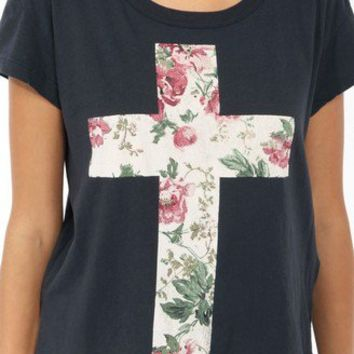 Relaxed Floral Cross Tee