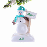 Snowman Christmas ornament - Personalized snowman ornament - personalized free with your name.