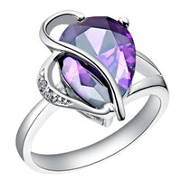 18K White Gold Plated Unique Design Purple Teardrop Crystal Cocktail Ring