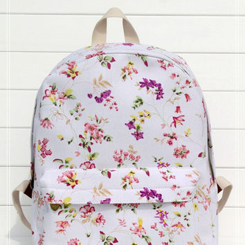 Canvas Pastoral Style Floral Backpack = 4887443588