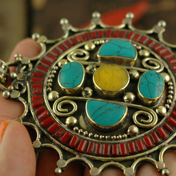Solar Flare: Nepali Turquoise, Coral, Faux-Amber White Brass / Boho, Bohemian Tribal Fashion, Jewelry Making Supply / Large Focal Pendant