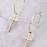 Cross Small Hoop Earrings