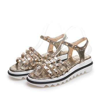 Ankle Straps Studded Gladiator Sandals Flats Platform Shoes 6690