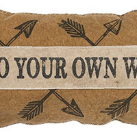 Go Your Own Way - Decorative Faded Fabric Throw Pillow with Fabric Applique and Printed Arrows- 22-In