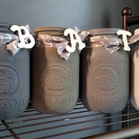 Rustic Grey Mason Jar Bathroom Set - Country Mason Jar Bathroom Set - Grey Bathroom Set