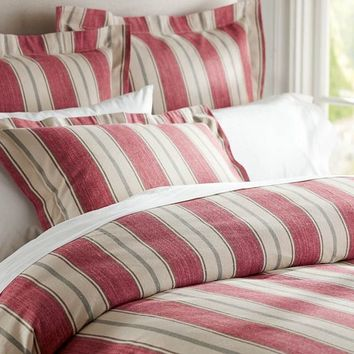 Joshua Stripe Duvet Cover & Sham - Red | Pottery Barn