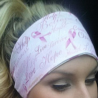Breast Cancer Inspirational Words Yoga Headband