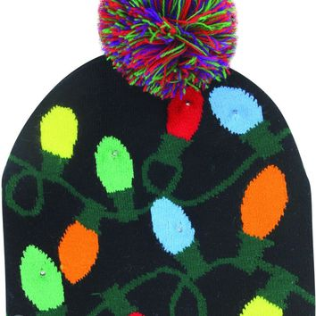 Christmas Bulb Light Up Knitted Hat - CASE OF 18