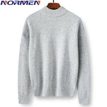 NORMEN Men's Fashion Sweaters Long Male Turtleneck Baisi Solid Pullovers Cotton Casual Streetwear