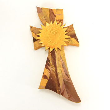 Sunburst Gold Cross, Mosaic cross, decorative cross, confirmation gift, baptism gift,Easter cross, unique cross, handmade cross, religious