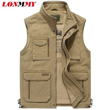 LONMMY Vests male with many pockets Sleeveless jacket mens vest Cotton Army green Khaki Military style chalecos para hombre New