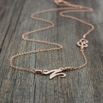 Rose Gold Sideways Initial Necklace - Personalized Script Monogram Letters . Gift Ideas for Couples, New Mom, Best Friends . His and Hers