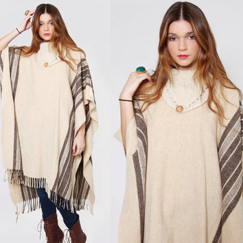 Vintage 80s STRIPE Poncho Wool Camel Blanket Cape with FRINGE O/S