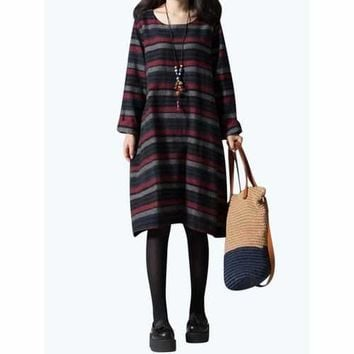 Casual Women Long Sleeve Striped O-Neck Loose Dress with Pocket