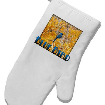 Blue Bird In Yellow Text White Printed Fabric Oven Mitt
