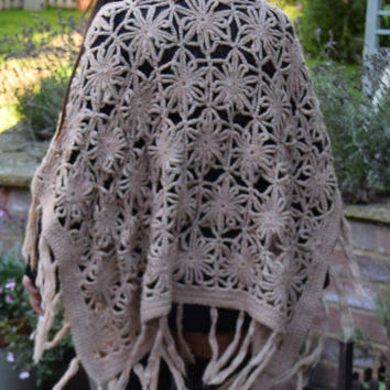 Wool crochet poncho  cardigan Gypsy Festival Folk boho hippy  S m Uk 8 10 12 14 US  4 6 8  10 peach knitted folk cape