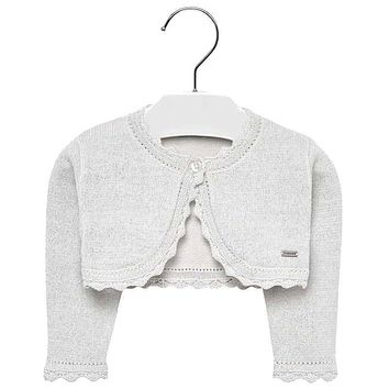 a15d0c0cf04 Mayoral Baby Girls  Metallic Silver Basic Knitted Cardigan