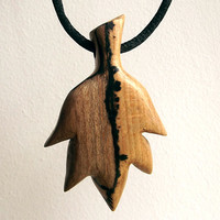 Wood Leaf Necklace, Wooden Pendant Hand Carved. Carving, Leaf Pendant, Leaf Jewelry, Handmade, Leaf Necklace, Rustic, Tribal, Surfer, Hippie