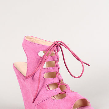 Wild Diva Suede Cut Out Lace Up Open Toe Wedge