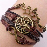 Bronze Branch Infinity 8 Wish Tree Karma Bracelet Leather Rope Knit Weave Bangle