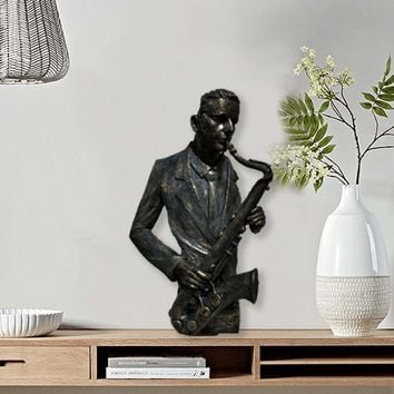 Saxophone Player Statue Sculpture in Patina Black Finish by Urban Port