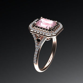 Diamond Double Halo Ring 14K Rose Gold with 8x6mm Radiant Cut Peach Morganite Center Surrounded By Black Diamonds - V1061
