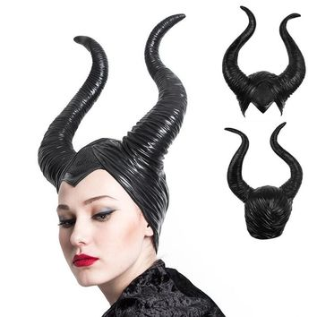 Women's  Maleficent Headpiece Black Queen Costume Horns Cosplay Hat