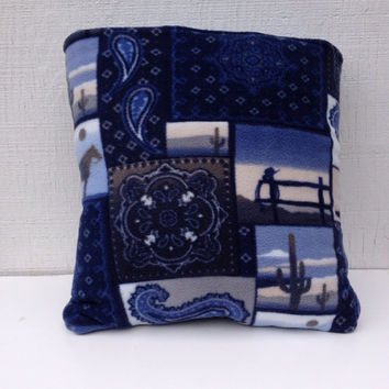 Fleece western cowboy quillow , a quilt that folds into a decorative pillow, cowboy quilt