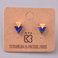 Tiny Triangular Gold and Stone Stud Earrings - Navy, Rose, Turquoise or White