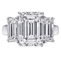 Three Stone 7 Carat Emerald Cut Ring