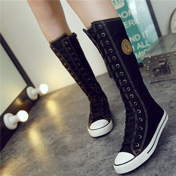 New Fashion Canvas Boots Women Lace Zip Mid-Calf Flats Boots Hip Hop Boots Casual Tall Punk Gothic Shoes Women