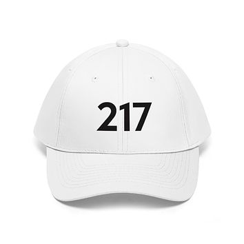 Illinois 217 Area Code Embroidered Twill Hat BLACK