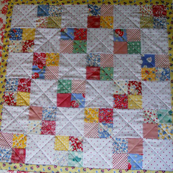 Patchwork Baby Quilt Crib Quilt Red and White Polka Dots Love Birds