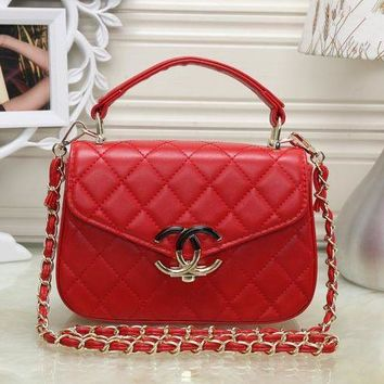 LMFON Chanel' Simple Fashion Quilted Solid Color Metal Chain Single Shoulder Messenger Bag Women Handbag