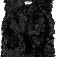 Saint Laurent|Shearling and textured-leather gilet|NET-A-PORTER.COM