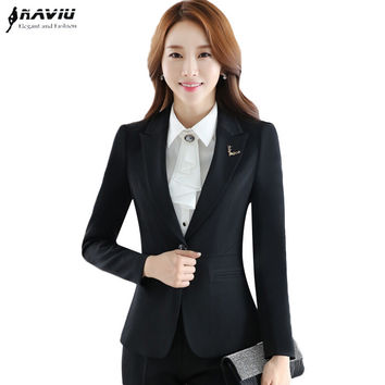 Professional 2016 New fashion pant suit set female autumn long-sleeve women's blazer with pants formal office work wear suits