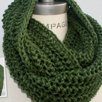 Hand knit Scarf Knitted Scarf Green Knit Scarf Great Gift Guide - By PiYOYO