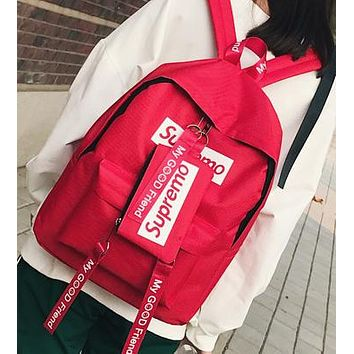 Supreme Canvas Casual Sport School Shoulder Bag Satchel Laptop Bookbag Backpack Clutch Bag Wristlet Purse Two-Piece