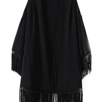 Black Tassel Sleeve and Bottom Kimono Cardigan
