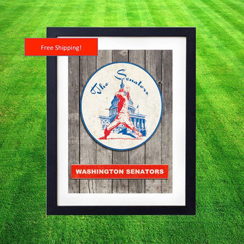 1971 Vintage Washington Senators Jersey Logo Poster Man Cave Baseball MLB Gift for Him Fathers Day Art Framed Poster Nationals Texas Rangers