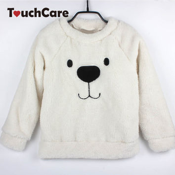 Newborn Cute Cartoon Animal Bear Baby Sweaters Infant Warm Fleece Kids Pullover Long Sleeve Winter Thick T-shirts Toddler Blouse