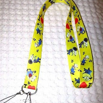 Disney Despicable Me I Love Minions Yellow Lanyard ID Holder Keychain-New!