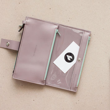 Cold Rose Maxi Wallet With Transparent Window for Everything