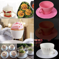 Silicone Tea Cup Cupcake Mold Saucer Liner Muffin Non-Stick Cake Baking 8 Pc Set