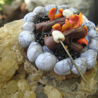 Miniature Campfire, fairy garden accessories, Miniature Campfire with Marshmallow, Dollhouse Miniatures