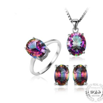 Genuine Rainbow Fire Mystic Topaz Oval 3pc set +Sterling Silver Chain