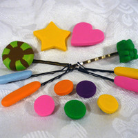 Vanellope von Schweetz Style Hair Candy Pins and Snaps - 13 pieces