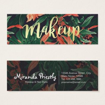 Luxury Floral Gold Script Makeup Salon Appointment Mini Business Card