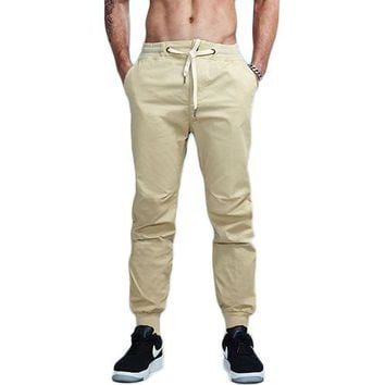 Solid Color Cotton Twill Drawstring Jogger Pants