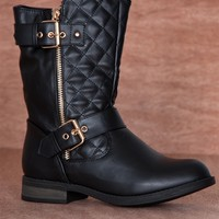 Forever Urban Cowboy Quilted Double Buckle Zipper Moto Boots Sevilla-19 - Black